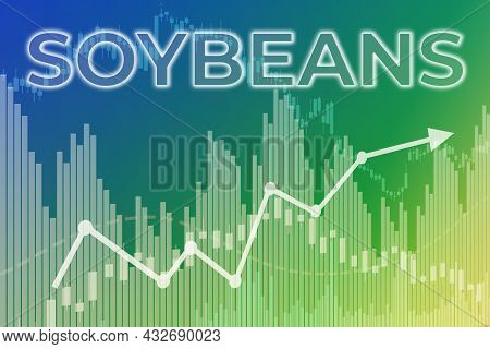 Price Change On Trading Soybeans Futures On Blue And Green Finance Background From Graphs, Charts, C