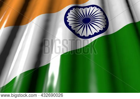 Wonderful Any Occasion Flag 3d Illustration  - Glossy - Looks Like Plastic Flag Of India With Big Fo