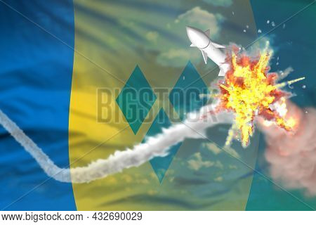 Strategic Rocket Destroyed In Air, Saint Vincent And The Grenadines Supersonic Warhead Protection Co