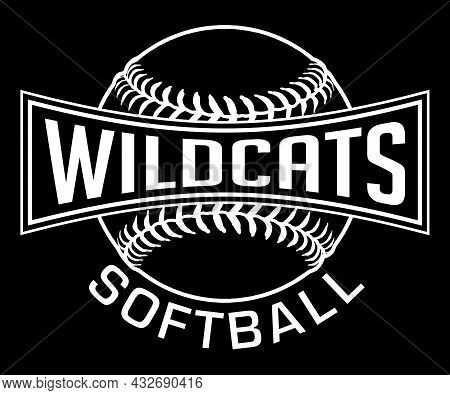 Wildcats Softball Graphic-one Color-white Is A White On Black Sports Design Which Includes A Softbal