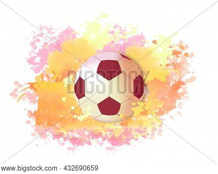 Soccer Ball On Bright Colors. Football Images. Abstract Pictures For Printing On Fabric. Stylish Wal