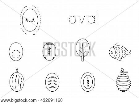 Learning Oval Shape For Children. Basic 2d Shapes.