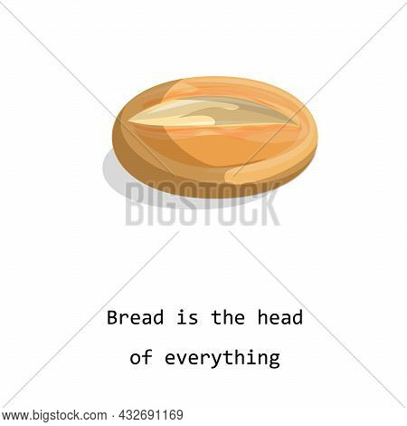 Vector Image Of A Loaf Of Bread Isolated On White Background. Cartoon Style. Eps 10