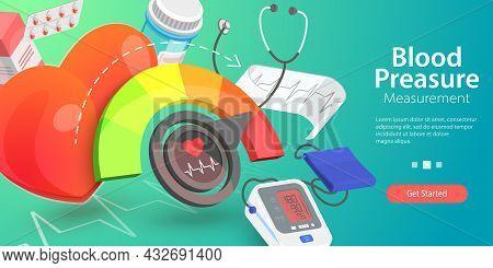 3d Vector Conceptual Illustration Of Blood Pressure Measurement, Hypertension Health Risk