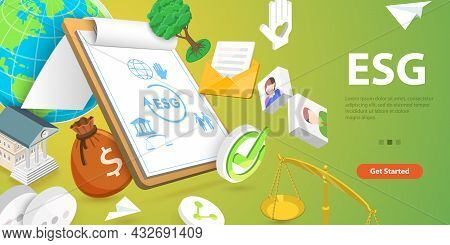3d Vector Conceptual Illustration Of Esg - Environmental, Social And Governance, Corporate Sustainab