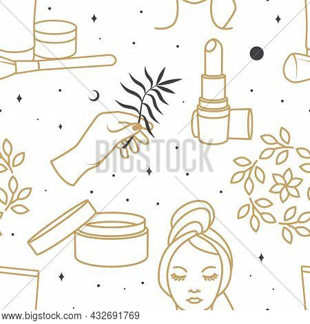 Cosmetics Seamless Texture, Pattern, Background, Wallpaper, Packaging Design Templates For Beauty Ce