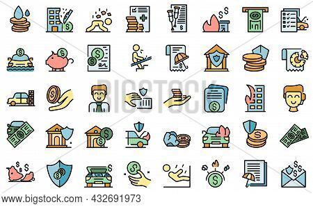 Compensation Icons Set. Outline Set Of Compensation Vector Icons Thin Line Color Flat Isolated On Wh