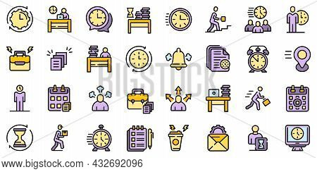 Rush Job Icons Set. Outline Set Of Rush Job Vector Icons Thin Line Color Flat Isolated On White