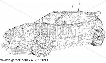 Rally And Drift Car Vector Wire-frame Isolated On Background. Vector Rendering Of 3d.