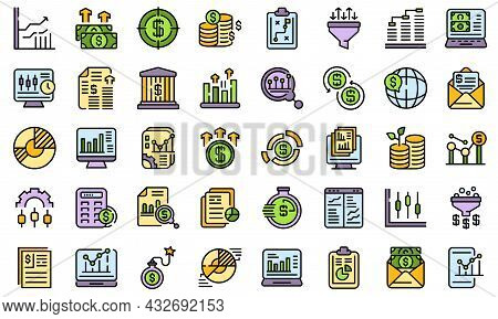 Result Money Icons Set. Outline Set Of Result Money Vector Icons Thin Line Color Flat Isolated On Wh