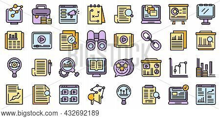 Market Studies Icons Set. Outline Set Of Market Studies Vector Icons Thin Line Color Flat Isolated O