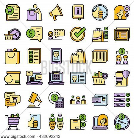 Consumer Rights Icons Set. Outline Set Of Consumer Rights Vector Icons Thin Line Color Flat Isolated