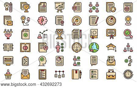 Education Workflow Icon. Outline Education Workflow Vector Icon Thin Line Color Flat Isolated On Whi