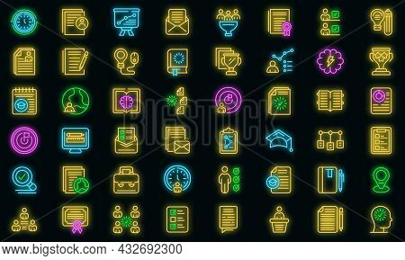 Education Workflow Icon. Outline Education Workflow Vector Icon Neon Color On Black