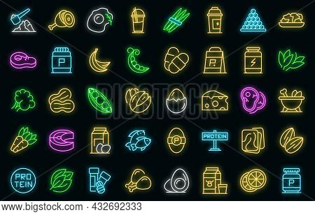 Protein Nutrient Icon. Outline Protein Nutrient Vector Icon Neon Color On Black