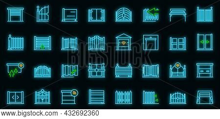 Automatic Gate Icon. Outline Automatic Gate Vector Icon Neon Color On Black