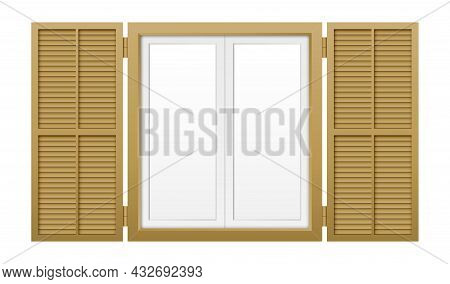 Window With Shutters Isolated On White Background.