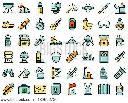 Equipment For Hike Icons Set. Outline Set Of Equipment For Hike Vector Icons Thin Line Color Flat Is
