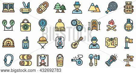 Scouting Icons Set. Outline Set Of Scouting Vector Icons Thin Line Color Flat Isolated On White