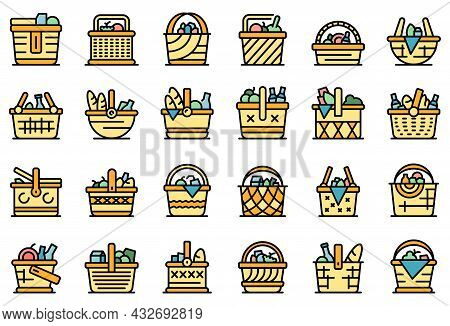 Picnic Basket Icons Set. Outline Set Of Picnic Basket Vector Icons Thin Line Color Flat Isolated On