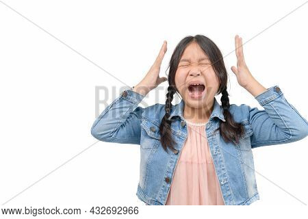 Little Girl Wear Jacket Jeans Scream Isolated On White Background, Emotion Concept