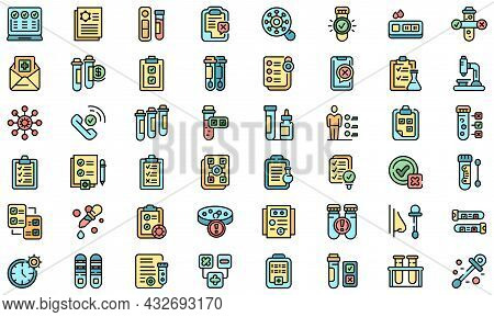Test Result Icons Set. Outline Set Of Test Result Vector Icons Thin Line Color Flat Isolated On Whit