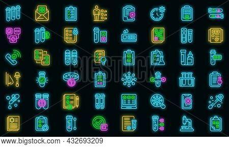 Test Result Icons Set. Outline Set Of Test Result Vector Icons Neon Color On Black