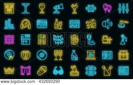 Night Club Icons Set. Outline Set Of Night Club Vector Icons Neon Color On Black