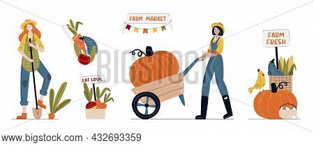 Set Of Farmer Women In Modern Style With Vegetables. Farm Market, Harvest Festival Or Eat Local Conc