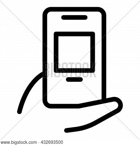 Hand Holding Phone Icon Outline Vector. Hold Cellphone. Smart Mobile