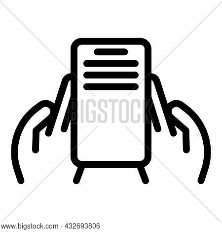 Human Hands Holding Mobile Icon Outline Vector. Phone Screen. Using Cellphone