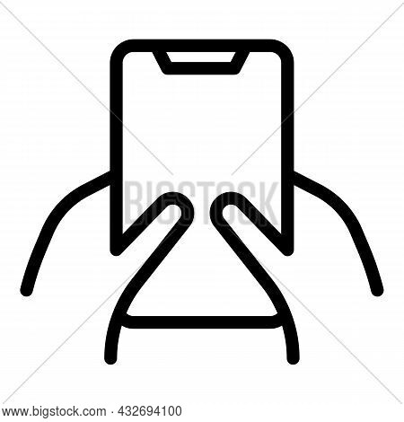 Gesture Holding Phone Icon Outline Vector. Hold Mobile. Smart Cellphone