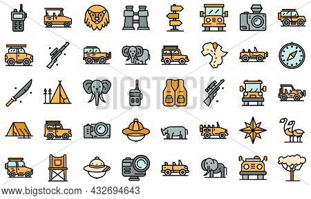 Jeep Safari Icons Set. Outline Set Of Jeep Safari Vector Icons Thin Line Color Flat Isolated On Whit