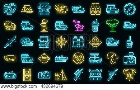 Jeep Safari Icons Set. Outline Set Of Jeep Safari Vector Icons Neon Color On Black
