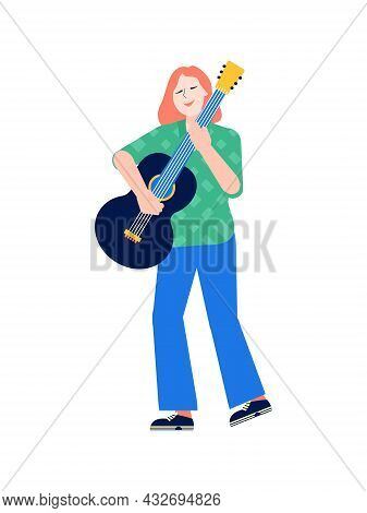 Flat Icon With Woman Musician Playing Guitar Vector Illustration