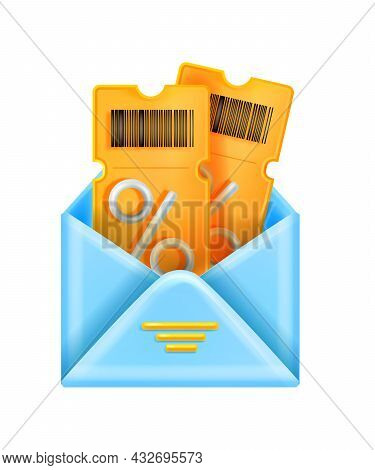 3d Discount Coupon Illustration, Vector Open Envelope Sale Event Ticket Voucher Isolated On White. G