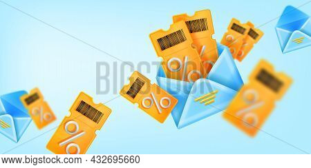 3d Discount Coupon Sale Banner, Vector Yellow Ticket, Open Envelope Illustration, Customer Gift Back