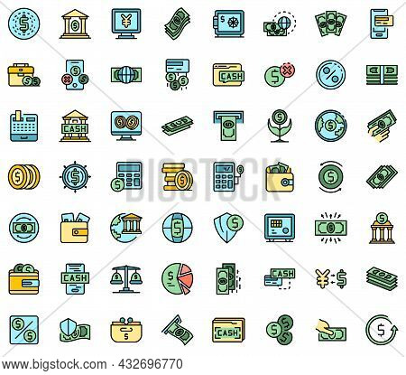 Bank Cash Icons Set. Outline Set Of Bank Cash Vector Icons Thin Line Color Flat Isolated On White