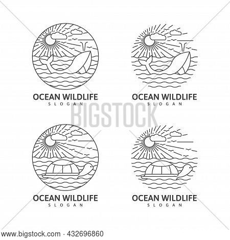 Collection Wildlife Whale Ocean Monoline Or Line Art Style Outdoor Nature Vector Illustration