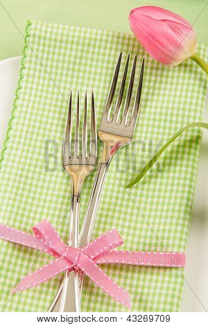 Spring Place Setting With Forks And Tulip