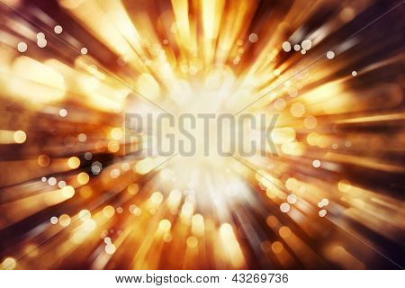 Bright blast of light in space background