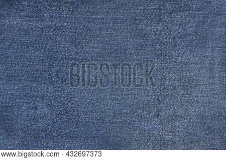 Blue Jean Texture. Blank Cloth Textile. Soft Fabric. Flat Surface. Grunge Expensive Design. Dark Nav