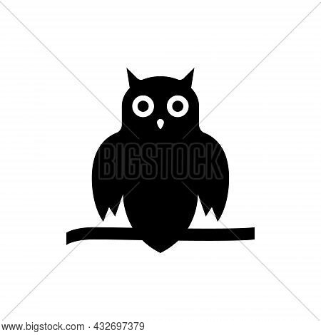 Spooky Black Owl With Round Eyes Silhouette Icon. Cute Wise Night Bird Sitting On Tree Branch Glyph