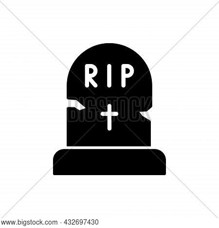 Black Tombstone On Grave With Text Rip Silhouette Icon. Halloween Grave Glyph Pictogram. Headstone W