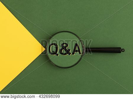 Qa, Questions And Answers Acronym. Qna Text Through Magnifying Glass.