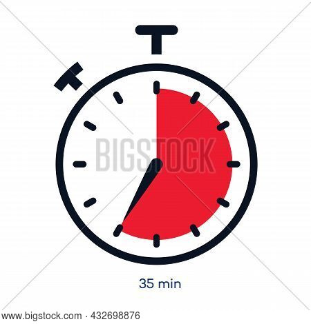 Timer 35 Minutes Symbol Color Style Isolated On White Background. Clock, Stopwatch, Cooking Time Lab