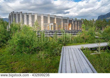 Vietas, Sweeden - 08.15.2021: Modern Wooden Building Of Visitor Center Laponia In Stora Sjofallet, S