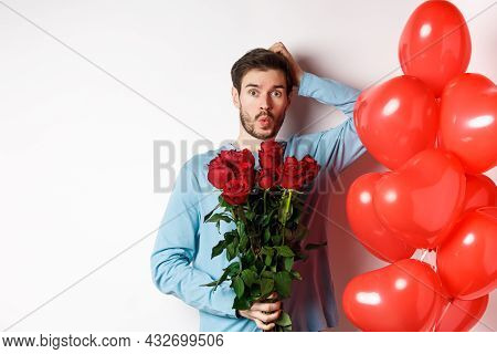 Valentines Day Romance. Worried Boyfriend Holding Bouquet Of Red Roses And Red Heart Balloons, Scrat
