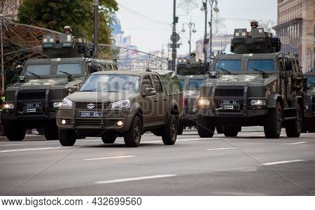 Ukraine, Kyiv - August 18, 2021: Military Parade. Armored Vehicle Kozak. Transport In Protective Col