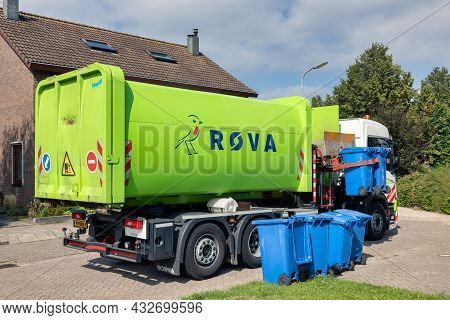 Urk, The Netherlands - September 03, 2021: Cleaning Trolley Collecting Containers With Waste Paper I